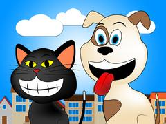 Pets In Town Shows Domestic Cat And Canine Stock Illustration
