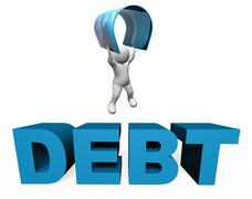 Debt Credit Card Means Financial Obligation And Arrears 3d Rendering Stock Illustration