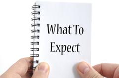 What to expect text concept Stock Photos