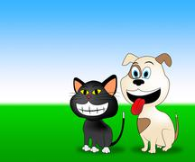 Happy Pets Shows Domestic Animal And Countryside Stock Illustration