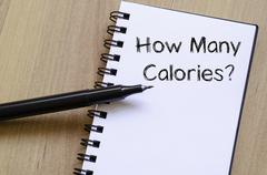 How many calories write on notebook Stock Photos