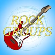 Rock Groups Indicates Track Soundtrack And Melodies Stock Illustration