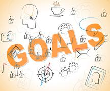 Business Goals Means Objective Achieve And Corporation Stock Illustration