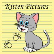 Kitten Pictures Indicates Feline Images And Photos Stock Illustration