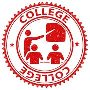 College Stamp Indicates Learned Tutoring And Education - stock illustration
