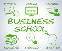 Business School Meaning Businesses Internet And Commercial Stock Illustration