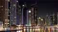 5K Dubai Marina night time lapse, United Arab Emirates Footage