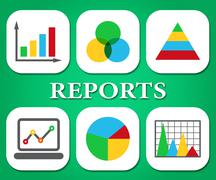 Reports Charts Representing Business Graph And Reported Stock Illustration