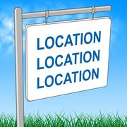 House Location Represents Advertisement Place And Signage - stock illustration