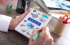 Concept of news on a notepad Stock Photos