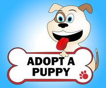 Adopt Puppy Shows Looking After Dog Pets - stock illustration
