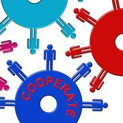 Cooperate Cogs Indicates Gear Wheel And Teamwork - stock illustration