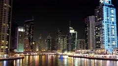 5K Dubai Marina night time lapse, United Arab Emirates Stock Footage