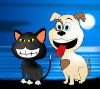 Happy Pets Represents Domestic Dog And Cat - stock illustration
