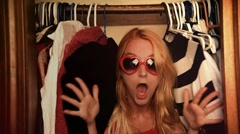 Surprised Fashion Style Woman in Closet Stock Footage