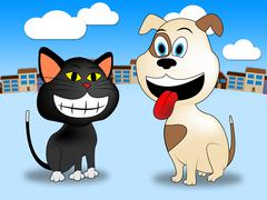 Town Pets Representing Domestic Cat And Doggy Stock Illustration