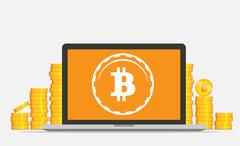 Flat bitcoin mining equipment. Golden coin in computer concept. Stock Illustration