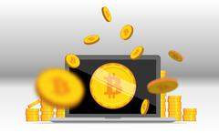 Flat bitcoin. Golden coins stack with computer mining equipment. Stock Illustration