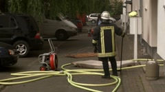 Firefighter and policewoman at work Stock Footage