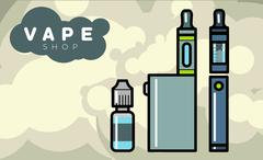 Electronic cigarettes vaporizers with liquid - stock illustration