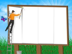 Billboard With Copyspace Means Ad Promoting And Sign - stock illustration