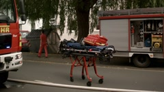 Ambulance gear on the street Stock Footage