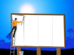 Billboard Sign Represents Blank Space And Advert Stock Illustration