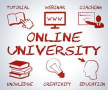 Online University Showing Educational Establishment And Www - stock illustration
