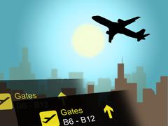 Vacation Flight Indicates Airline Travel And Aviation Piirros