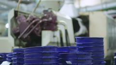 Production of plastic cans. Plastic recycling Stock Footage