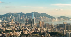 Hong Kong evening aerial view sunset filter .warm tone Stock Footage