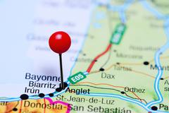 Anglet pinned on a map of France Stock Photos