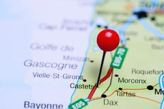 Castets pinned on a map of France Stock Photos