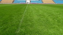 Closeup image of natural green grass soccer field - stock footage