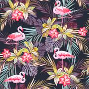 Tropical summer seamless pattern with flamingo birds and exotic plants Stock Illustration