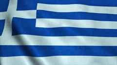 Realistic Ultra-HD flag of the Greece waving in the wind. Seamless loop with Stock Footage