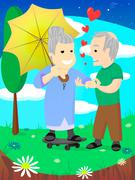Old family, elderly couple in love, celebrate wedding date - stock illustration