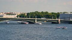 Time lapse sequence of Trinity bridge across the Neva river Stock Footage