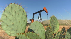 Industrial jack pump platform working on oil field behind cactuses Stock Footage