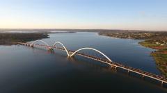 Aerial Bridge Juscelino Kubitschek (Ponte JK) Brasília DF Stock Footage