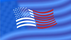 4th of July greeting animation. USA flag appearance greeting text and fireworks. - stock footage