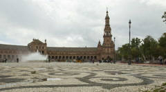 Panning time lapse of Plaza de Espana in Seville, Spain Stock Footage