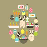 Easter holiday Flat Icons Set over brown - stock illustration