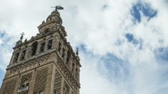 Time lapse of the tower of the Cathedral of Seville Stock Footage