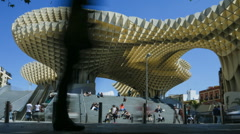 Low-anlge time lapse of the Metropol Parasol in Seville Stock Footage