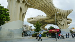 Wide-anlge time lapse of the Metropol Parasol in Seville Stock Footage