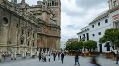 Time lapse of the square next to the Cathedral of Seville Stock Footage