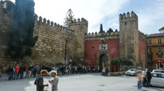 Time lapse of the entrance to Real Alcazar in Seville (speed 2) Stock Footage