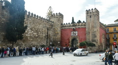 Time lapse of the entrance to Real Alcazar in Seville (speed 1) Stock Footage