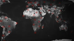 Saturated colors world map - perspective looping - circle cities - scanning - - stock footage